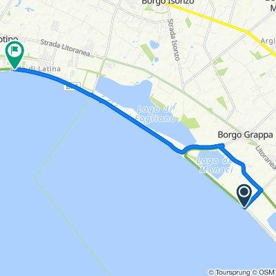Incrocio Strada della Lavorazione, Sabaudia nach Strada Lungomare 930, Borgo Sabotino-foce Verde