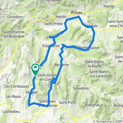 Via Privas en Rochesauve naar Mirabel