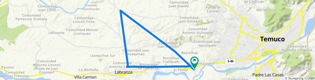 De S-40/ km 1,7, Temuco a S-40/ km 1,7, Temuco