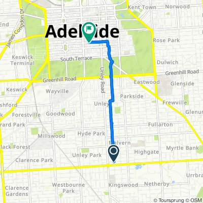 Restful route in Adelaide