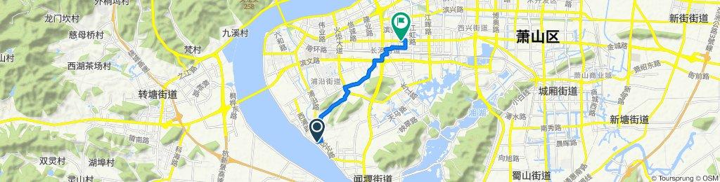 钱江南万达路戈雅公寓西侧, 杭州市 到 江二路, 杭州市