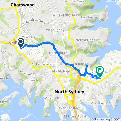 Route from Hotham Parade 43-45, Artarmon