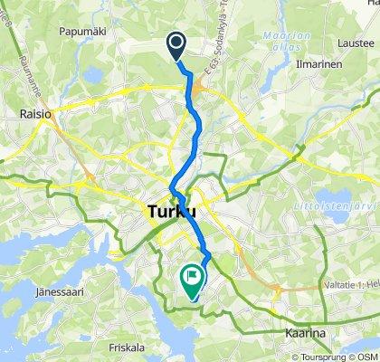 От Lentorahdintie, Turku до Jaakkimankatu 9, Turku