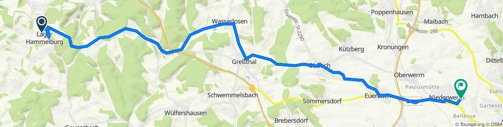 Unnamed Road, Hammelburg nach Gretel-Baumbach-Straße 1, Schweinfurt