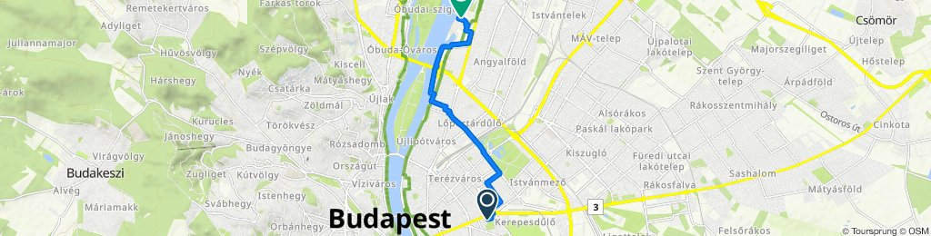II. János Pál pápa tér 25, Budapest to Meder utca 9, Budapest