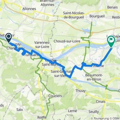 De Route de Montsoreau 495, Saumur à Rue du Val de l'Indre 132, Avoine