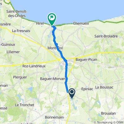 Route nach 2 Place de l'Église, Le Vivier-sur-Mer