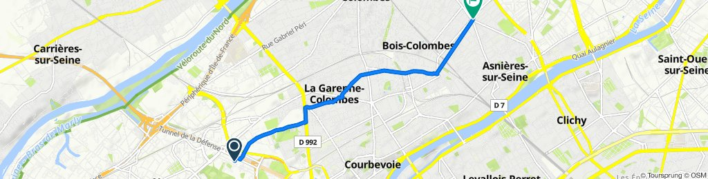 De 65 Rue des Trois Fontanot, Nanterre à 1B Rue Bourdarie Lefure, Asnières-sur-Seine
