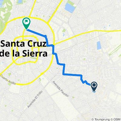 Ruta a Calle Los Cusis, Santa Cruz de la Sierra
