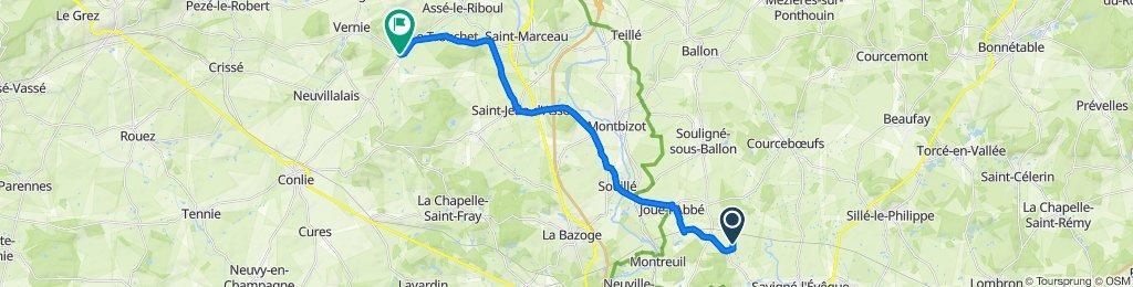 De Les Goislardières, Savigné-l'Évêque à La Targerie, Mézières-sous-Lavardin