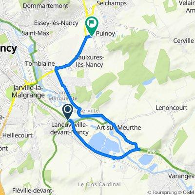 De 5B Rue Canal de la Marne au Rhin, Laneuveville-devant-Nancy à D83, Saulxures-lès-Nancy