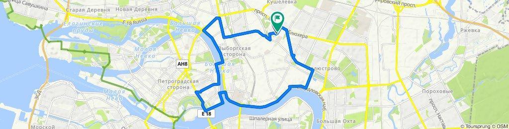 От проспект Маршала Блюхера, 9к2, Санкт-Петербург до проспект Маршала Блюхера, 9к2, Санкт-Петербург