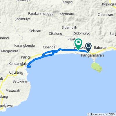 Jalan Pananjung 412, Kecamatan Pangandaran to Jalan Raya Cijulang 30, Kecamatan Pangandaran