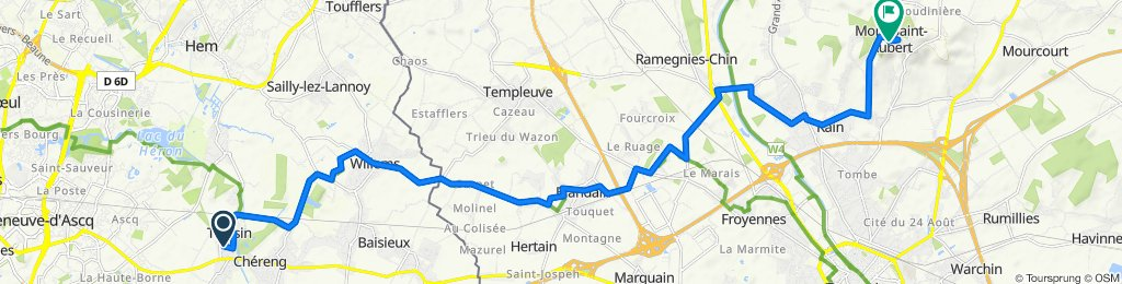 De 6 Rue Hélène Boucher, Tressin à Chemin des Pèlerins, Tournai