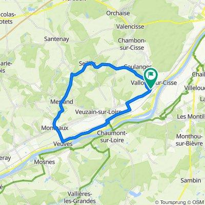 Sporty route in Chouzy-sur-Cisse