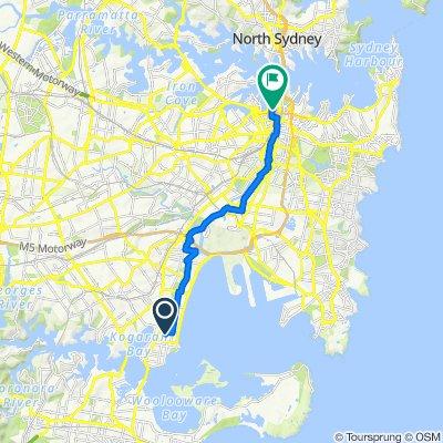 Horbury Street 38, Sans Souci to York Street 129, Sydney