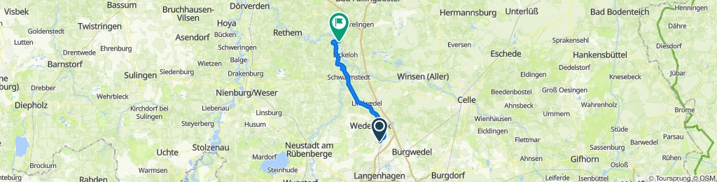 Hirschdamm 19, Wedemark nach Heerstraße 39, Hodenhagen