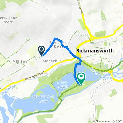 Route from 61 West Way, Rickmansworth