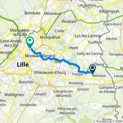 De 3 Rue Mozart, Baisieux à 1 Avenue de Mormal, Lille