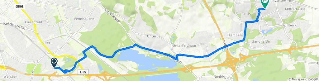 Ludwigstraße 79, Düsseldorf nach Winckelmannstraße 11, Erkrath