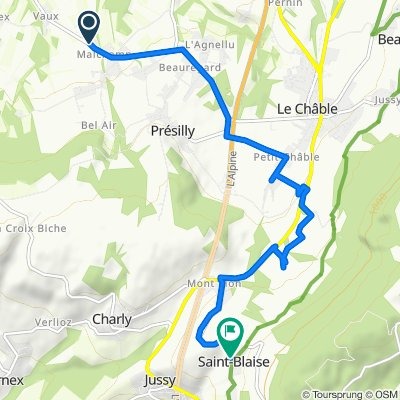 Route du Châble 1120, Feigères to Rue Principale 285, Saint-Blaise