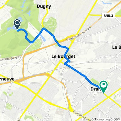 De Parc Départemental de la Courneuve, La Courneuve à 43 Avenue Jean Jaurès, Drancy