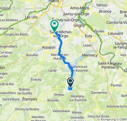 De Unnamed Road, Guigneville-sur-Essonne à Chemin de la Motte 11, Montlhéry