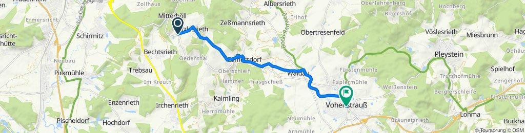 Muglhof 14, Weiden in der Oberpfalz nach Pfarrgasse 1, Vohenstrauß