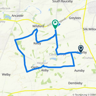 Route from Aunsby Road, Sleaford