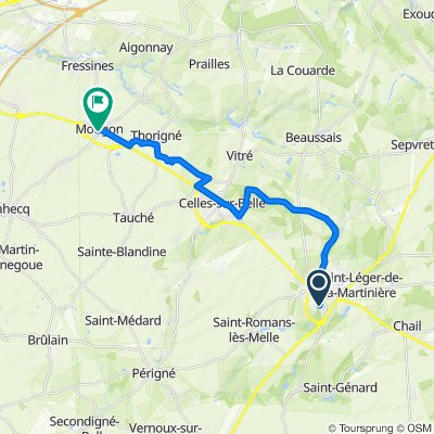 De Rue de Loubeau, Melle à 15 Route de Triou, Mougon