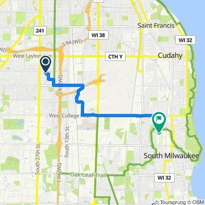2315 W Manchester Ave, Milwaukee to Rocket John Way, South Milwaukee