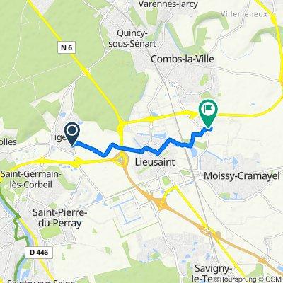 De 2 Route de Saint-Pierre, Tigery à Parc de Chanteloup, Moissy-Cramayel