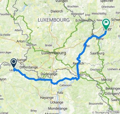 D618, Longwy naar Hindenburgstraße 1A–2, Trier