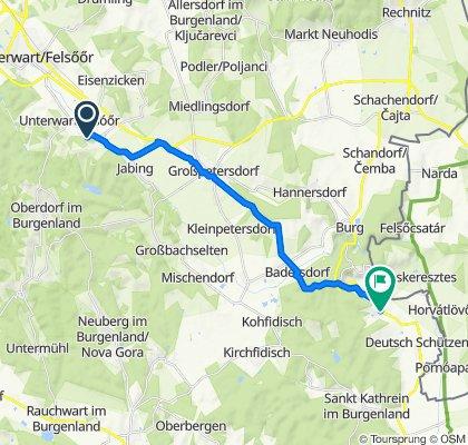 Hauptstraße 18, Rotenturm an der Pinka nach Dorfstraße 1, Eisenberg an der Pinka