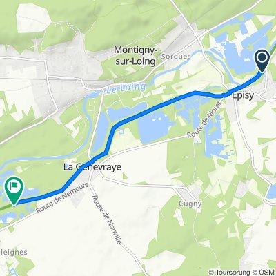 De Route d'Écuelles, Episy à Sente des Jardins, La Genevraye