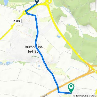 De Route de Schweighouse, Burnhaupt-le-Haut à 2–9 Rue des Vosges, Burnhaupt-le-Bas
