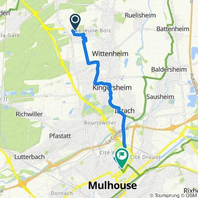 De 5 Rue du Sundgau, Wittenheim à 10 Rue des Gymnastes, Mulhouse