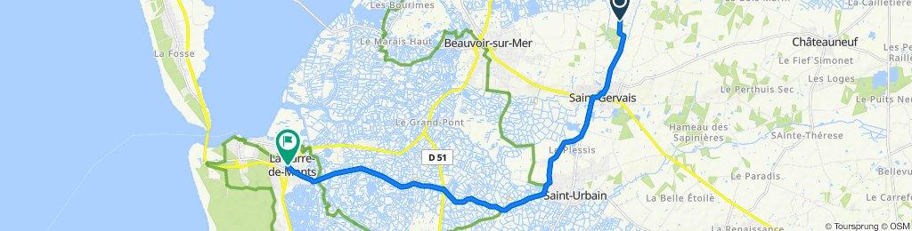 De La Noue Mossart 500, Saint-Gervais à Route de Saint-Jean de Monts 34, La Barre-de-Monts
