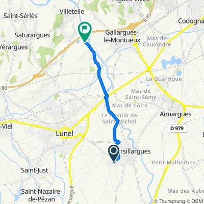 De Rue du Levant 42, Marsillargues à Le Devès, Villetelle
