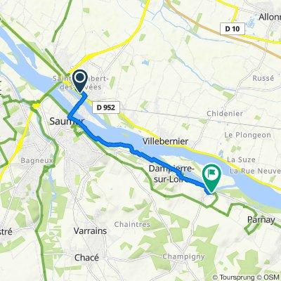 De 2bis Avenue David d'Angers, Saumur à 5 Route de Champigny, Souzay-Champigny