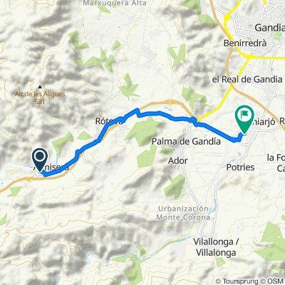 De Camí de la Planissa, Llocnou de Sant Jeroni à Camí de la Catorzena, Beniflá