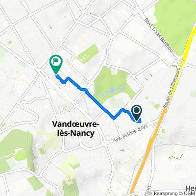 De 13 Avenue des Jonquilles, Vandoeuvre-lès-Nancy à 7 Rue Robert Schuman, Vandoeuvre-lès-Nancy