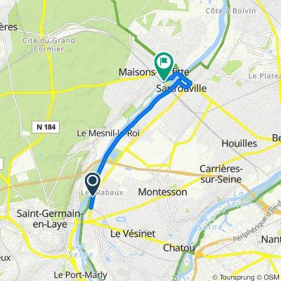 Avenue Gabriel Péri 11 bis -13- 15, Montesson nach Rue de la Digue 22, Maisons-Laffitte