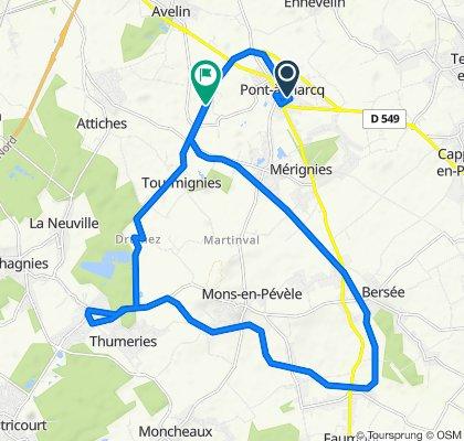 Itinéraire à partir de 18 Rue des Tisserands, Pont-à-Marcq