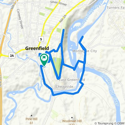 Hope St to Poets Seat to Turners Falls Canal and back