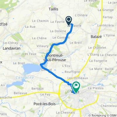 De 433 La Basse Chauvelais, Balazé à Rue de Brest, Vitré