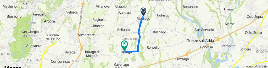 Da Via Indipendenza 85, Mezzago a Via Pietro Verri 1, Ornago
