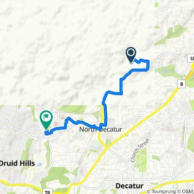 Route to 201 Dowman Dr NE, Atlanta