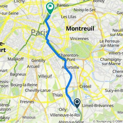 De 42 Avenue du Maréchal de Turenne, Orly à 71 Rue de Meaux, Paris