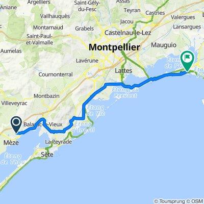 Chemin de Mèze, Loupian naar 282 Lotissement Les Peupliers, La Grande-Motte